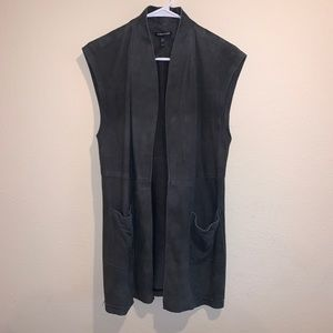 Eileen Fisher suede leather vest pockets grey